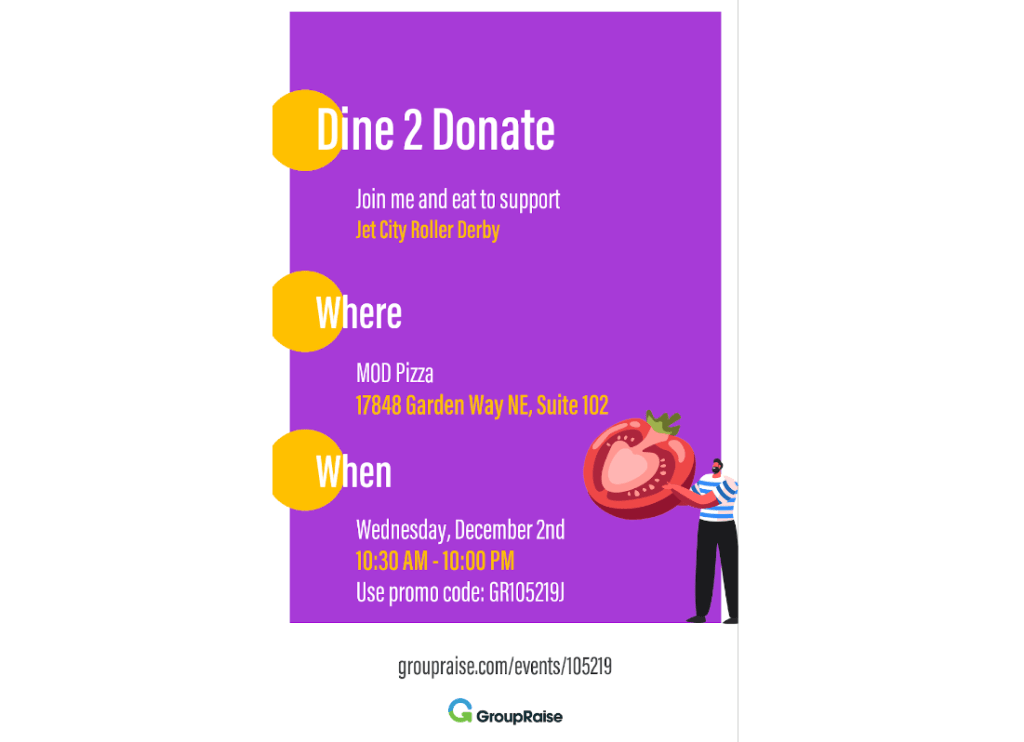"Social media story image with text reading ""Dine 2 Donate"""