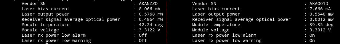 Kein Link mit Intel 82599ES 10-Gigabit SFI/SFP+ Netzwerk Karte