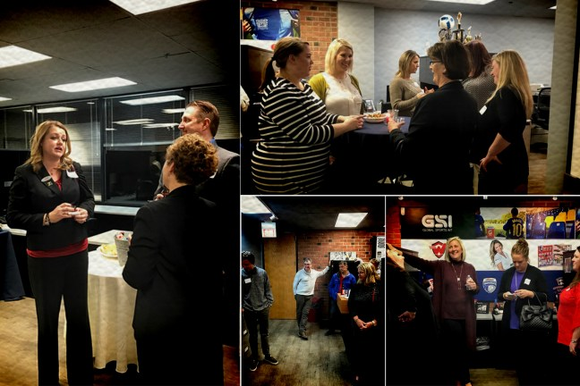 GCI Team Travel guest mingle with hotel staff at a thank you party held at GSI Sports.