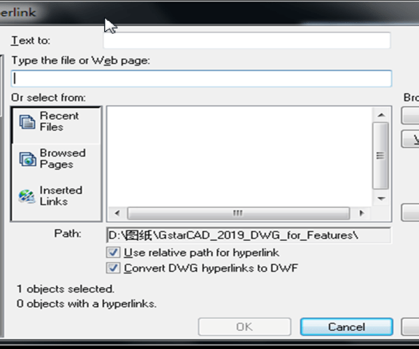 How to reference objects to file/URL in GstarCAD