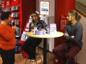 "Jukka-Petteri ""Jukkis"" Eronen (middle) and me at a interview at my hometown bookshop after our first story Lintu Mustasiipi was published last year."