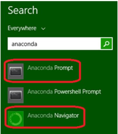 Window Search box Anaconda prompt
