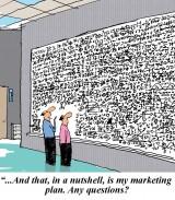 Cartoon: Complex Marketing Plan on a Whiteboard