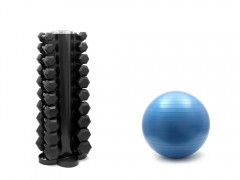 dumbbell rack and stability ball