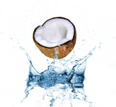 Coconut and splashing water