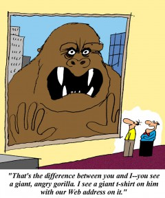 Illustration of a big, angrey, gorilla peering in a window at 2 executives. One executive sees the gorilla as a marketing opportunity by placing a t-shirt on him with the company's web address.