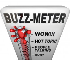 """Buzz Thermometer with """"hot topic"""" being the hottest temperature and the """"huh?"""" being the lowest temperature"""