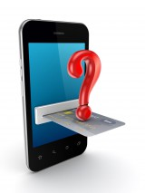 Online payment via credit card with a question mark