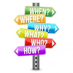 """Road signs pointing to different directions to """"who"""", """"what"""", """"when"""", """"where"""", and """"why"""""""