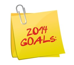 2014 Goals on a yellow post-it note