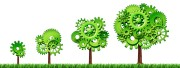 growing economy industry business growth green power gears
