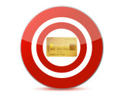 Red Target Symbol with Credit Card as the Bullseye