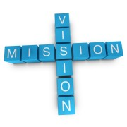Vision and mission crossword on white background, 3D