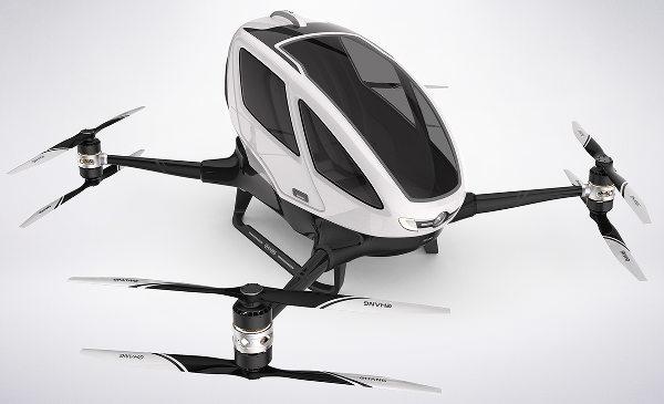 L'Ehang 184, hélicoptère monoplace octorotor à pilotage ultra-simplifié. - document Ehang