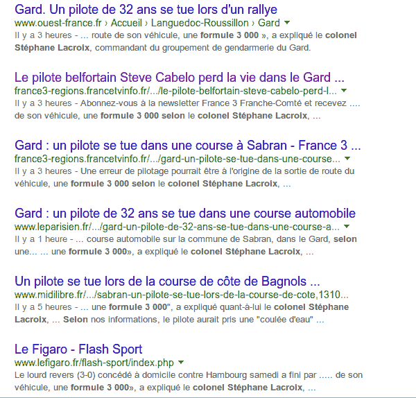 Capture d'écran Google.
