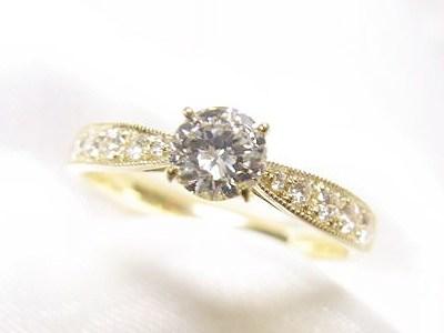 0.4ct立爪ダイヤをK18製アンティーク風リングへリフォーム【神戸 元町】