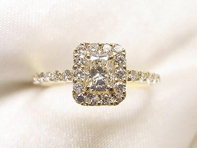 プリンセスカットのダイヤモンドをメレダイヤ取巻きリングへリフォーム【神戸 元町】