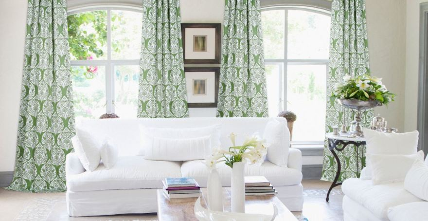 britght living room with green curtains