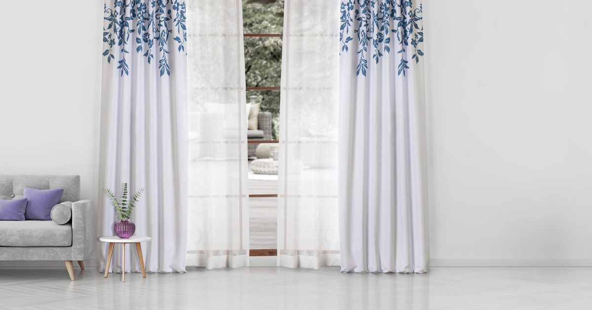 bright room with floral curtains
