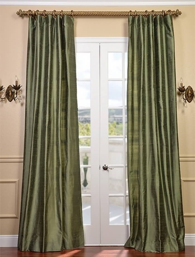Update your dining room with solid silk curtains