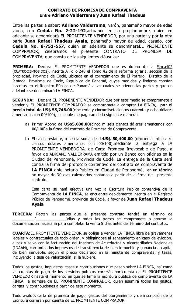 Descargas de Documentos para la compra de finca raz en Panam