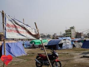 Das Zeltlager in Boudha für die Erdbebenopfer.