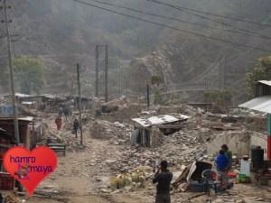 Komplette Zerstörung im Kern von Melamchi.