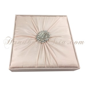 Blush pink silk wedding invitation box