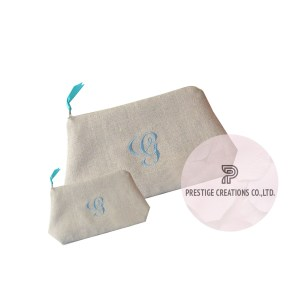 Personalized monogram embroidered cotton cosmetic bags