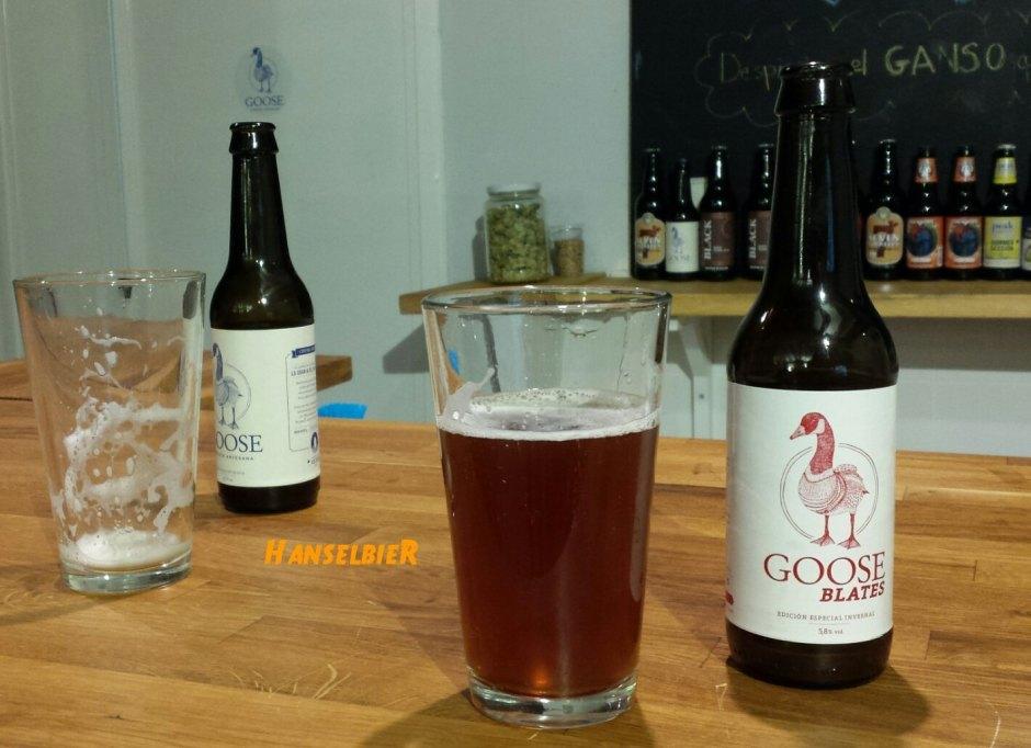 Probando la cerveza artesana Goose Blates