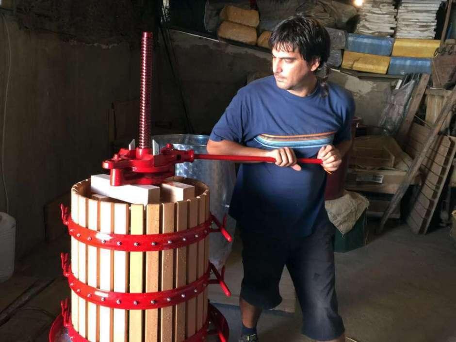 Prensando uva de la variedad Verdejo - Nieva - Segovia