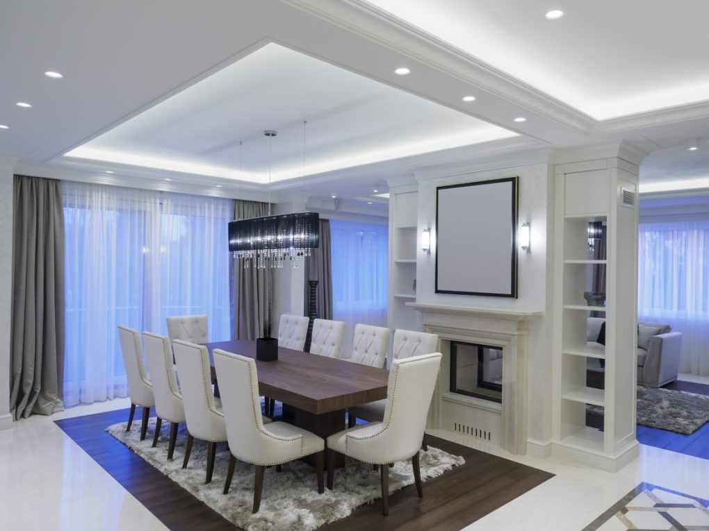 LED strip lights in ceiling and wall of room