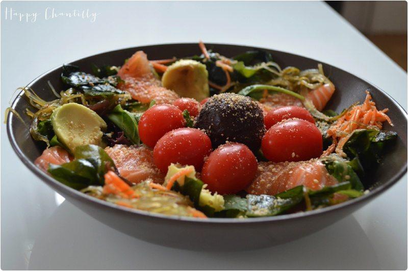 recette de cuisine salade japonaise au saumon cru happy chantilly. Black Bedroom Furniture Sets. Home Design Ideas