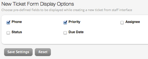 New Ticket Form Display Options
