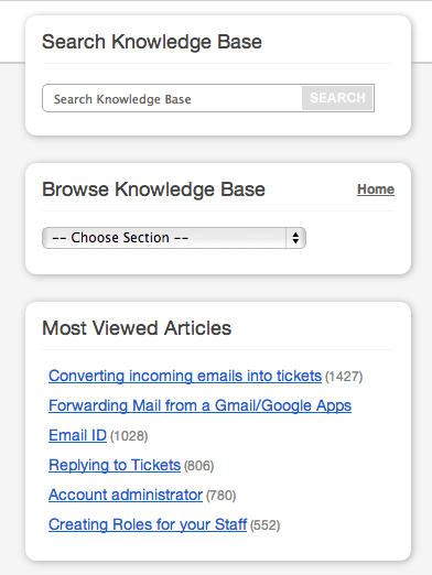 Search and the Most Viewed Article Sections