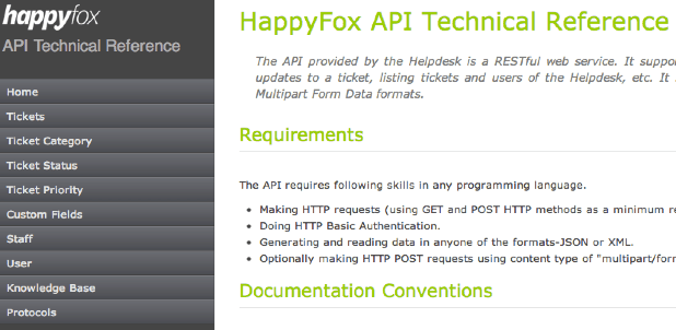 HappyFox API Portal