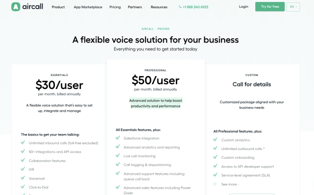 Aircall pricing page