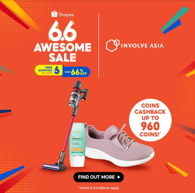 Shopee eBelia RM150 RM500 vouchers 66 Awesome Sale