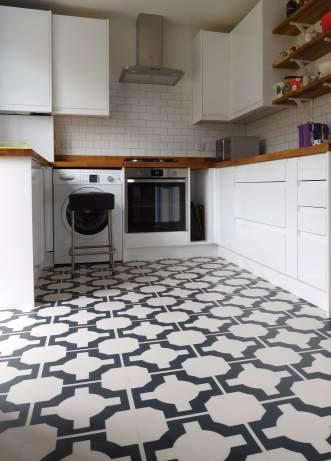 Angela's kitchen in Parquet Charcoal by Neisha Crosland