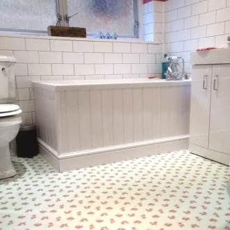 Ian's bathroom in Rose Sprig White by Cath Kidston