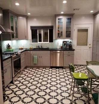Joanna's kitchen in Parquet Charcoal by Neisha Crosland