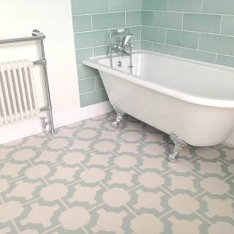 Karen's bathroom in Parquet Eggshell by Neisha Crosland
