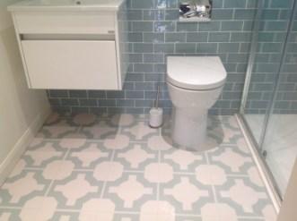 Lucy's bathroom in Parquet Eggshell by Neisha Crosland