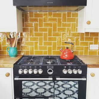 Natalie's kitchen with Parquet Charcoal by Neisha Crosland