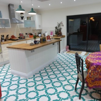 Sharon's kitchen in Parquet Turquoise by Neisha Crosland