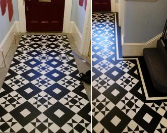 Black and white floor design in a hallway