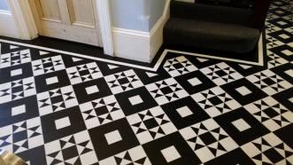 Black and white design hallway flooring