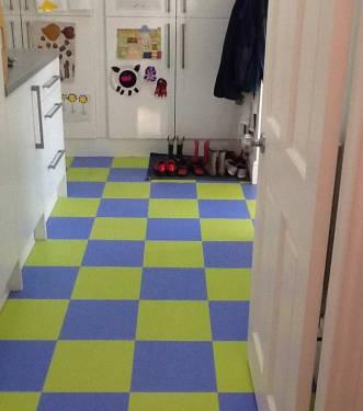 Blue & green checkerboard floor