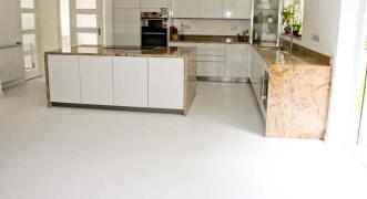 Kitchen with white vinyl flooring
