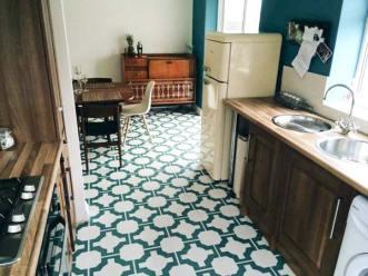 turquoise green vinyl flooring tiles